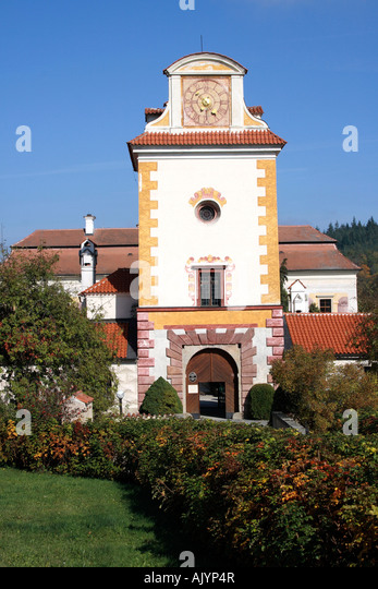 entrance tower water castle Kratochville Czech Republic Photo by Willy Matheisl - Stock Image