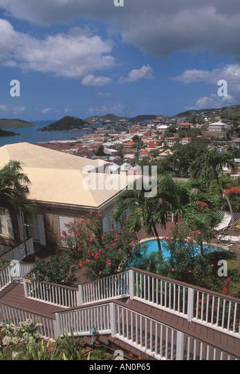 St Thomas USVI Charlotte Amalie harbor view scenic from Blackbeard s Hill - Stock Image