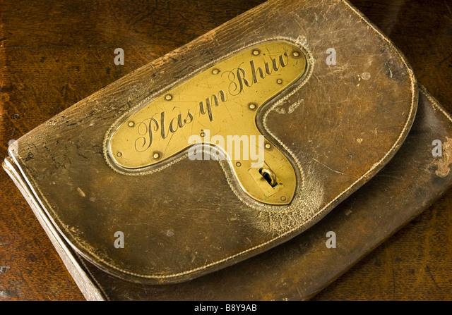 An early 19th century leather mailbag inscribed Plas yn Rhiw in the Hall at Plas yn Rhiw Pwllheli Gwynedd - Stock Image