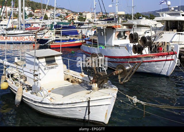 Fishing Boats in the Aegean Sea. - Stock Image
