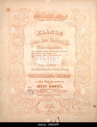 Sheet music cover image of the song 'Klange aus der Heimath Oberlandler', with original authorship notes - Stock Image