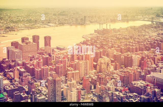 Retro toned aerial view of New York City, USA. - Stock Image
