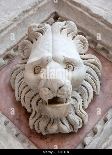 marble detail of carved  head of lion on church in Siena - Stock Image