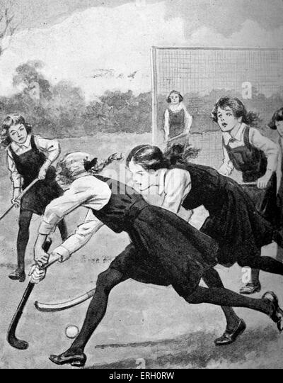 The Hockey Match - from Betsy-go-Lucky- of the Fourth, by Jessie Leckie Herbertson, 1923. - Stock Image
