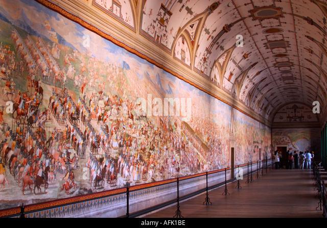Hall of Battles Monasterio de El Escorial Madrid Spain Europe - Stock Image