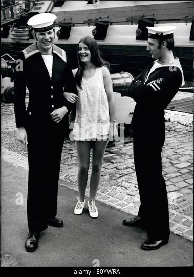 Aug. 08, 1971 - Sailors at 'fashion Parade' of proposed new uniforms: About 400 sailors were able to see - Stock Image