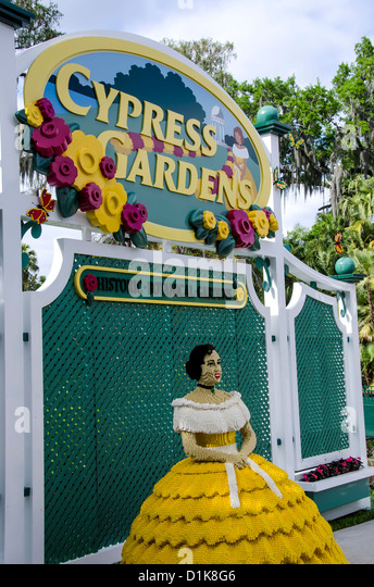 Legoland Florida with Cypress Gardens sign and Lego traditional Cypress Gardens belle, Winter Haven Florida - Stock Image