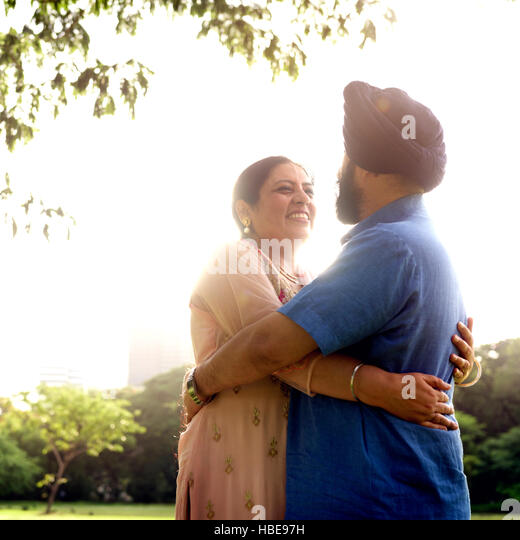 Indian Couple Love Care Concept - Stock Image