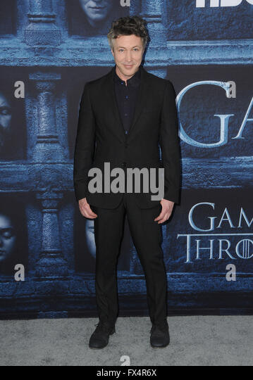 Hollywood, CA, USA. 10th Apr, 2016. Aiden Gillen. Arrivals for the Premiere Of HBO's ''Game Of Thrones'' - Stock Image