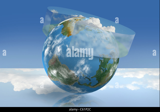 Climate control technology illustrated with an atmospheric pie chart - Stock Image