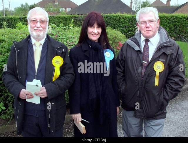 Local election candidates Liberal Tory (Conservative) outside Grappenhall polling station, Grappenhall Library, - Stock Image
