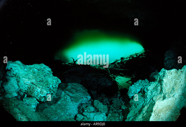 Cave entrance of Laguna Pepe Punta Cana Freshwater Dominican Republic - Stock Image