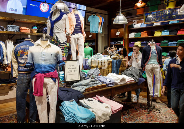 Manhattan New York City NYC NY Midtown Fifth Avenue shopping luxury Ralph Lauren Polo Flagship Store clothing store - Stock Image