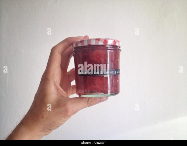 Rambling rhubarb glass - Stock Image