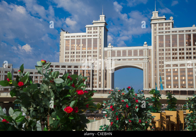 KazMunaiGas building home to the Oil and Gas Ministry, Astana, Kazakhstan, Central Asia, Asia - Stock-Bilder