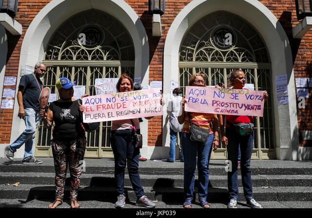 Venezuelans protest against the Constituent Assembly in Caracas, Venezuela, 24 July 2017. Venezuela's Constituent - Stock Image