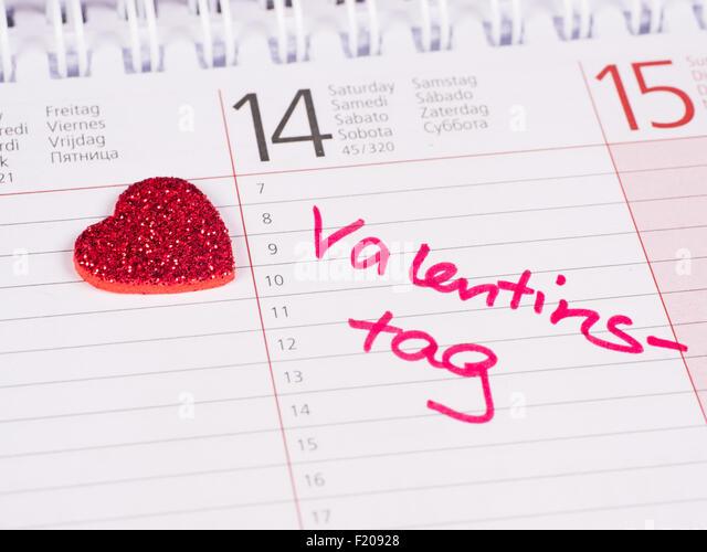 Kalendereintrag Valentinstag - Stock-Bilder