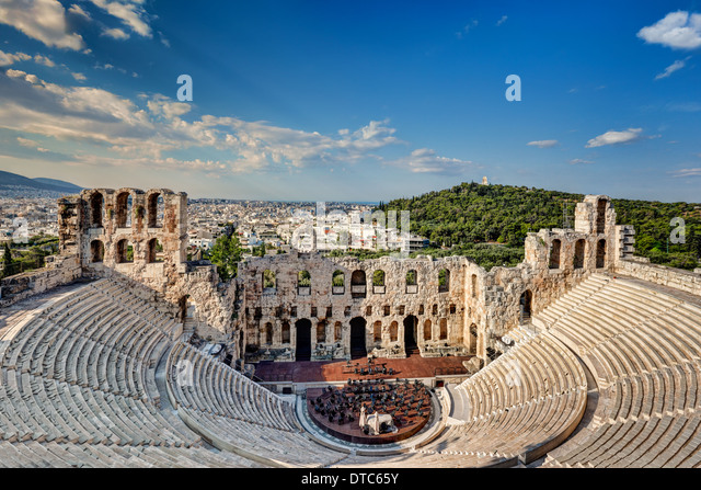 The Odeon of Herodes Atticus also known as Herodeon (161 AD), Greece - Stock Image