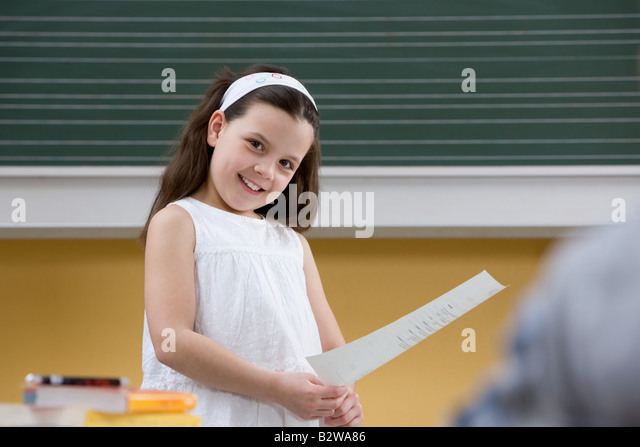Girl in class - Stock Image