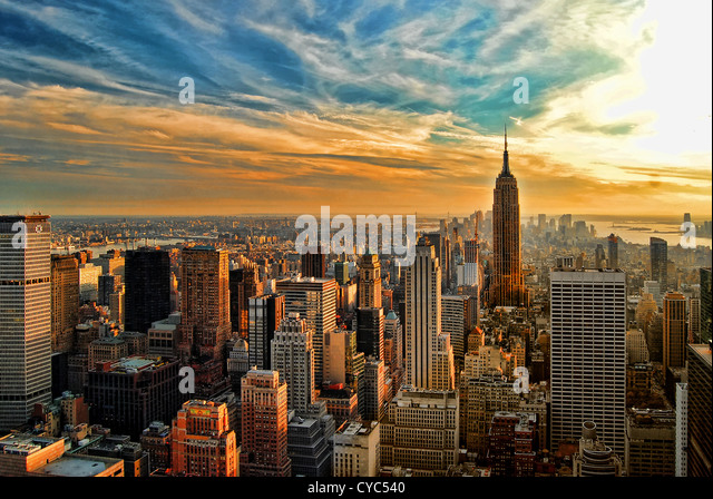 HDR image overlooking southern half of Manhattan, New York City, with Empire State Building. - Stock Image