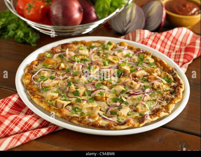 Barbecue chicken pizza - Stock Image