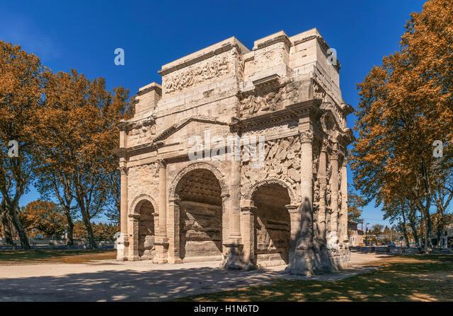 Roman Arch, Triumphal Arch, Unesco World Heritage Site, Orange, Vaucluse, Provence, Provence-Alpes-Côte d´Azur, - Stock Image