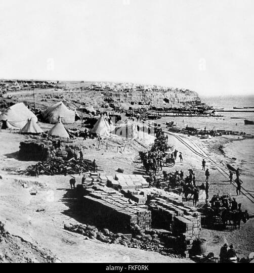 Gallipoli. West Beach, Gallipoli during the Gallipoli Campaign in World War I. The beach was the site of British - Stock Image