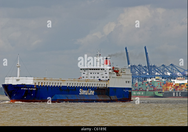 Stena Line Ro-Ro ferry leaving the port of Felixstowe, Suffolk, UK. - Stock Image