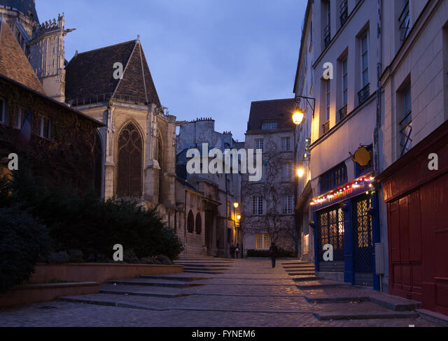 Twilight walk in historic Paris France - Stock Image