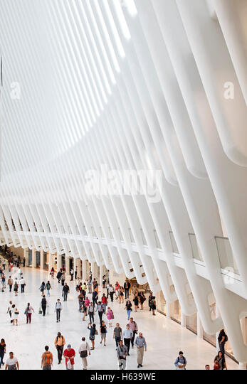 Arrival area of cathedral-like transit hall. The Oculus, World Trade Center Transportation Hub, New York, United - Stock Image