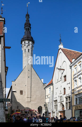 The Church of the Holy Spirit or Church of the Holy Ghost in the Old Town district of Tallinn in Estonia. Dates - Stock Image