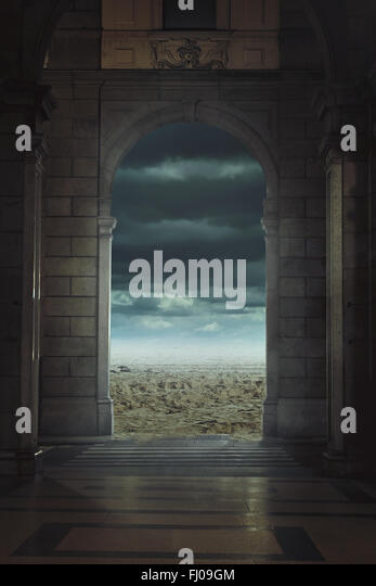 Strange entry to a mysterious land . Surreal and fantastic concept - Stock-Bilder
