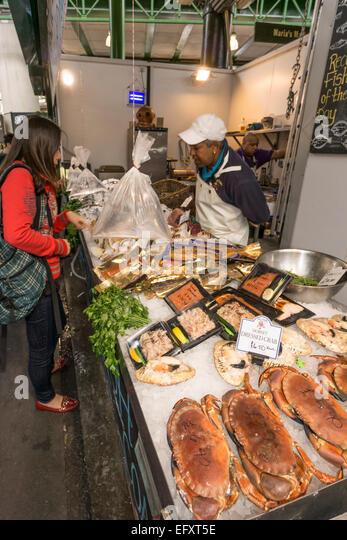 Boroughs Market, Fresh Fish,  Gourmet Food, London United Kingdom, - Stock Image