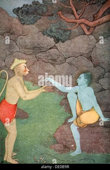 Rama sending his signet-ring to Sita, 1913.  Artist: K Venkatappa - Stock Image