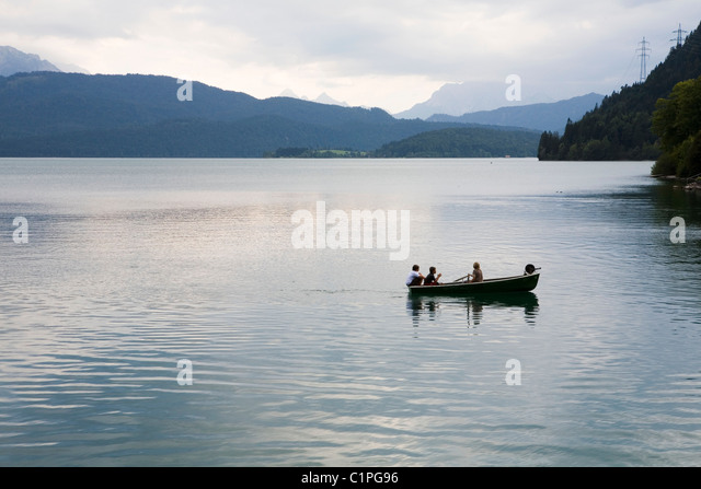 Germany, rowing on lake Walchensee - Stock Image