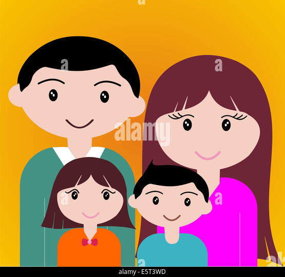 Four member of happy family portrait together. - Stock-Bilder