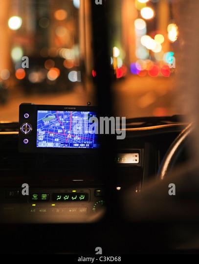 GPS on car dashboard - Stock Image