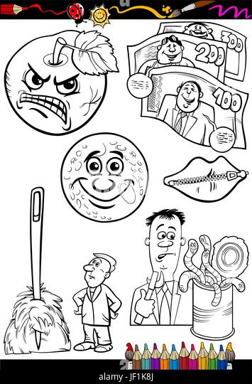 illustration, collection, set, cartoon, comics, talk, speaking, speaks, spoken, - Stock Image