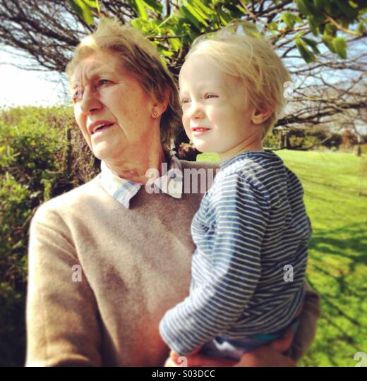 Nana and grandson - Stock-Bilder