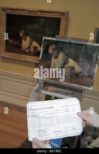 Washington DC National Gallery of Art West Building museum exhibition artist copyist permit copy easel imitation - Stock Image