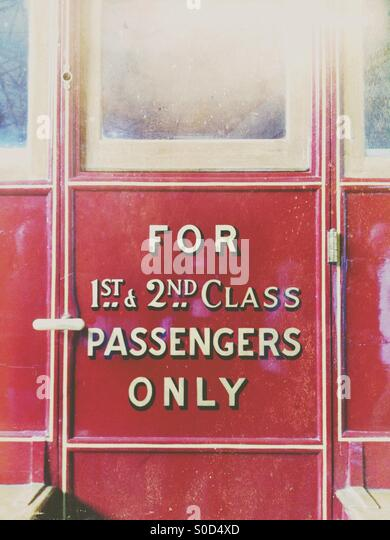 Old fashioned train carriage door - Stock Image