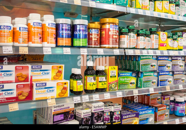Melbourne Australia Victoria Central Business District CBD Flinders Street pharmacy drugstore sale shelves royal - Stock Image