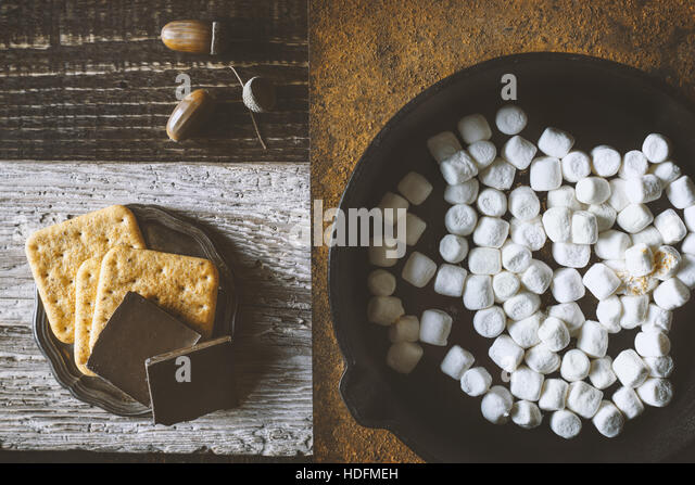 Ingredients for smores  on the different backgrounds top view - Stock Image