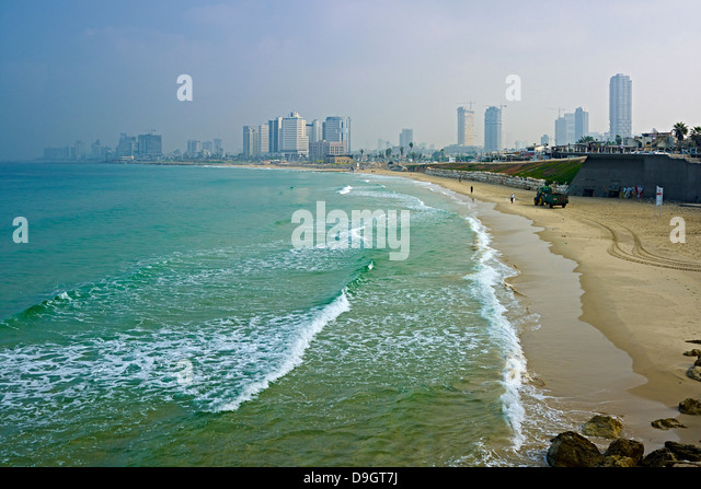 View from Jaffa to the skyline of Tel Aviv, Israel - Stock Image