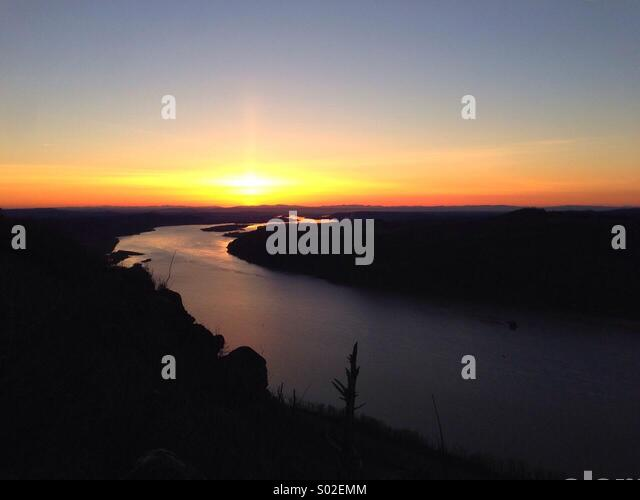 Sunset over Oregon' Columbia Gorge - Stock Image