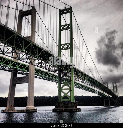Tacoma Narrows Bridge in Washington state, USA - Stock Image
