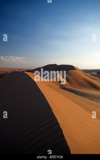 The Wahiba Sands at sunset, Oman. - Stock Image