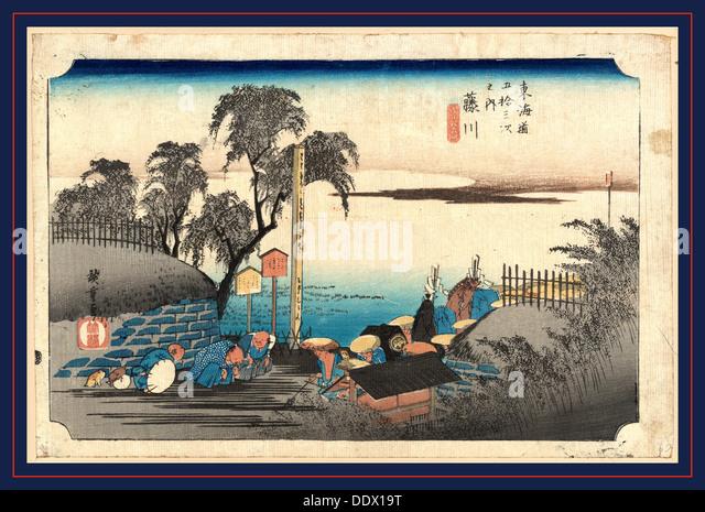 Fujikawa, Ando, Hiroshige, 1797-1858, artist, [between 1834 and 1836], 1 print : woodcut, color ; 25.4 x 38.1 cm., - Stock Image
