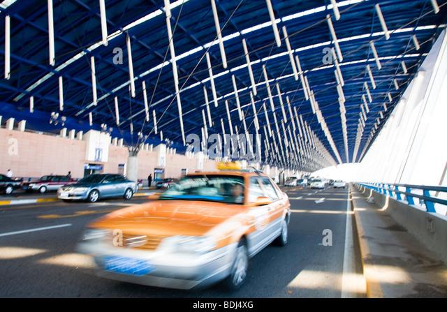 Taxi cab at Shanghai international airport, China - Stock Image