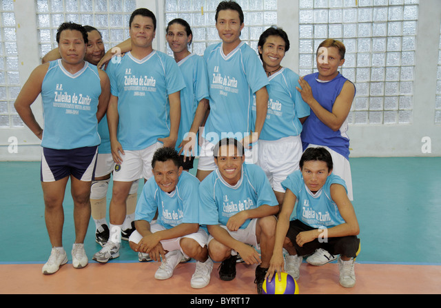 Panama City Panama Calidonia volleyball gymnasium sport athletics fitness Hispanic man team league indoor - Stock Image